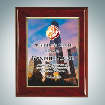 Sublimation Color Gold Border Aluminum Plate on Gloss Horiz./Verti. Rosewood Plaque