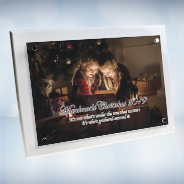 Color Imprinted Photo Floating Acrylic Plate on Gloss Horiz./Verti. White Wood Plaque