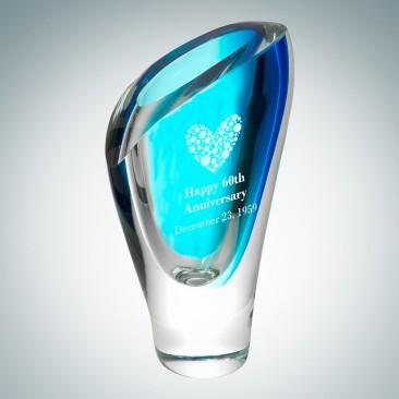Art Glass Blue Lush Vase