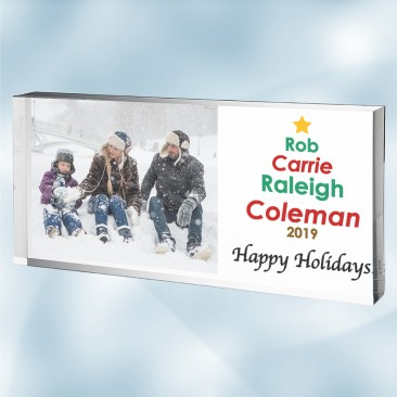 Color Imprinted Holiday Photo Plaque with Personalized Family Tree Art
