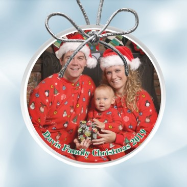 Color Photo Imprinted Acrylic Circle Ornament