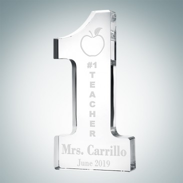 Pre-Designed Crystal Number One Teacher Award
