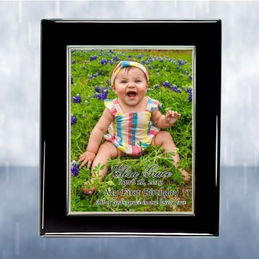 Color Photo Imprinted Silver Border Aluminum Plate on Gloss Horiz./Verti. Blackwood Plaque