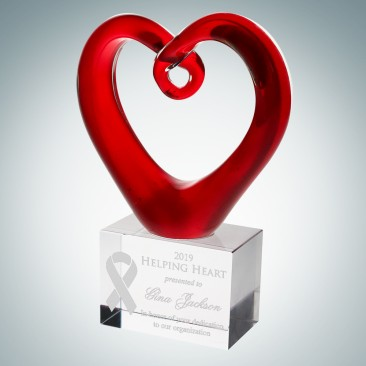 Art Glass Red Heart Award with Clear Base