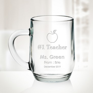 Pre-Designed Glass Coffee Mug Teacher Appreciation Gift