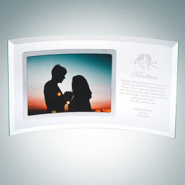 Pre-Designed Love Birds Jade Curved Horizontal Silver Photo Frame