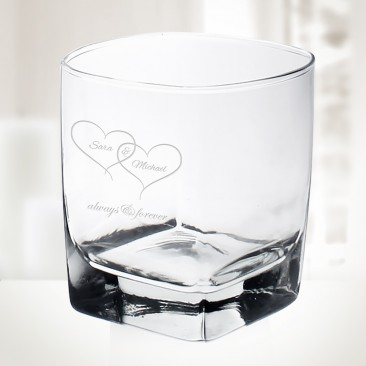 Pre-Designed Linked Hearts Sterling OTR Whiskey Glass, 10oz
