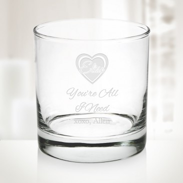 Pre-Designed Love Heart Aristocrat OTR Whiskey Glass, 11oz