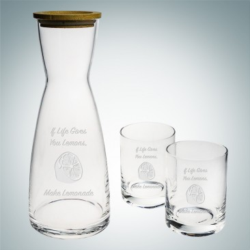 Sagaform Nature Carafe 34oz & Tumbler 9.5oz, 3pc Set