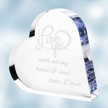 Pre-Designed ILY Acrylic Heart Keepsake Plaque
