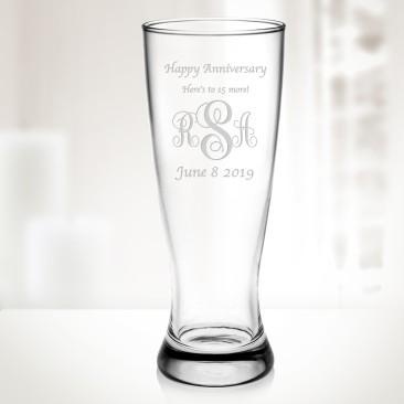 Monogrammed Pilsner Beer Cup, 20oz