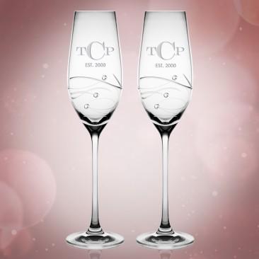 Barski Sparkle Champagne Flute Pair, 7oz