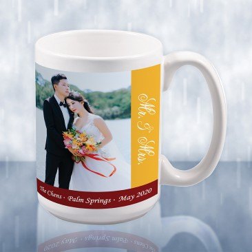Sublimation Color Imprinted Ceramic Mug Wedding Photo Gift