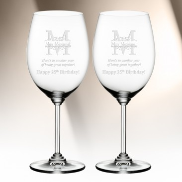 Monogrammed Riedel Cabernet Merlot Wine Glass Pair, 21.5oz