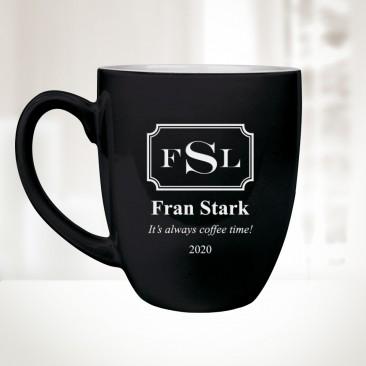 Monogrammed Black Ceramic Bistro Mug, 16oz