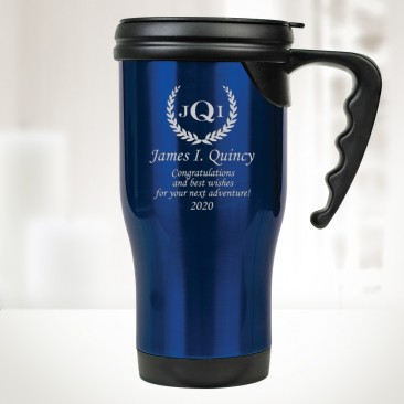 Monogrammed Blue Stainless Steel Travel Mug with Handle 14oz