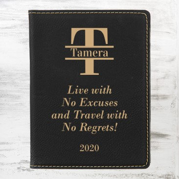 Monogrammed Black/Gold Leatherette Passport Holder