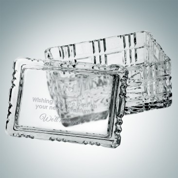 Monogrammed Majestic Crystal Box - Rectangle | Hand Cut