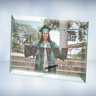Color Imprinted Photo Beveled Horizontal Rectangle Jade Glass Plaque