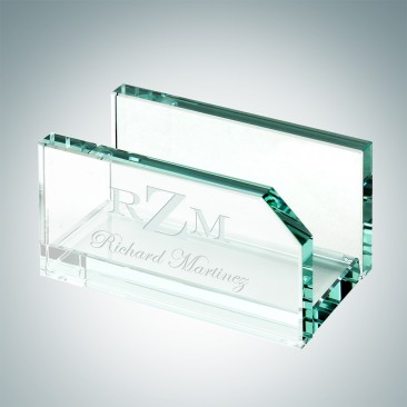 Monogrammed Jade Business Card Holder