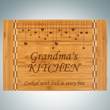 Pre-Designed Hanging Hearts Bamboo Cutting Board with Butcher Block Inlay