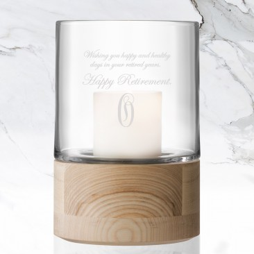 Monogrammed LSA LOTTA Lantern Candle Holder with Ash Base