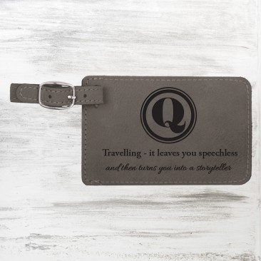 Monogrammed Gray Leatherette Luggage Tag