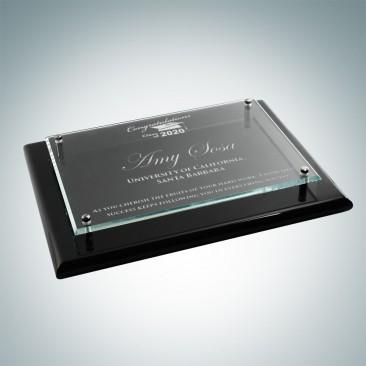 Floating Glass Plate on Gloss Horiz./Verti. Blackwood Plaque