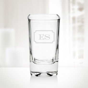 Monogrammed Tall Square Shot Glass, 2.75oz