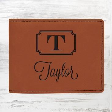 Monogrammed Rawhide Leatherette Bifold Wallet