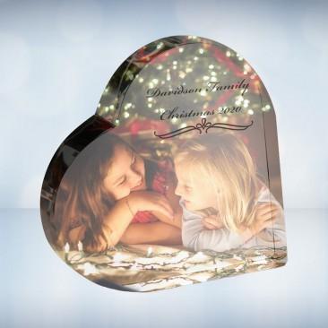 Color Photo Imprinted Crystal Heart Keepsake