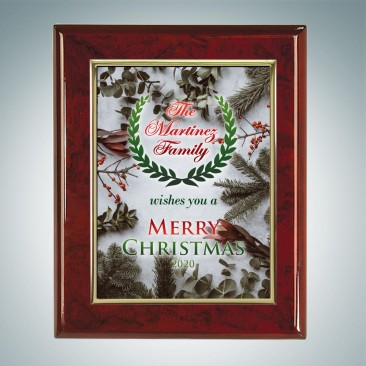 Color Photo Imprinted Gold Border Aluminum Plate on Gloss Horiz./Verti. Rosewood Plaque