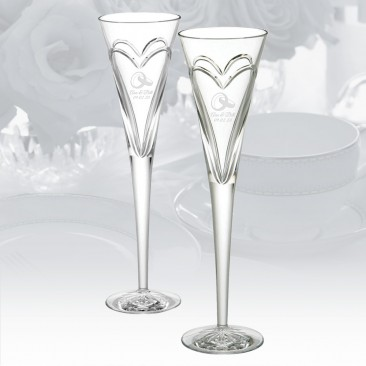Waterford Wishes Love and Romance Heart Flute Pair, 5oz
