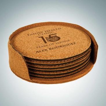 Cork Round Coaster with Holder, 6pc Set