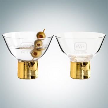 Sagaform Gold Club Cocktail Martini Glasses Pair, 5.1oz