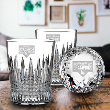 Pre-etched Waterford LA Dodgers World Series 2020 Champions Lismore Diamond DOF Pair