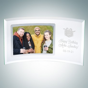 Jade Curved Horizontal Silver Photo Frame