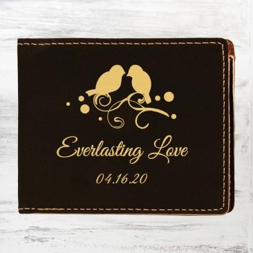Black/Gold Leatherette Bifold Wallet