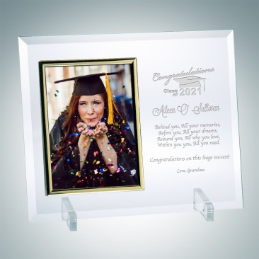 Jade Vertical Gold Photo Frame with Stand