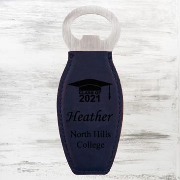 Blue Leatherette Bottle Opener with Magnet