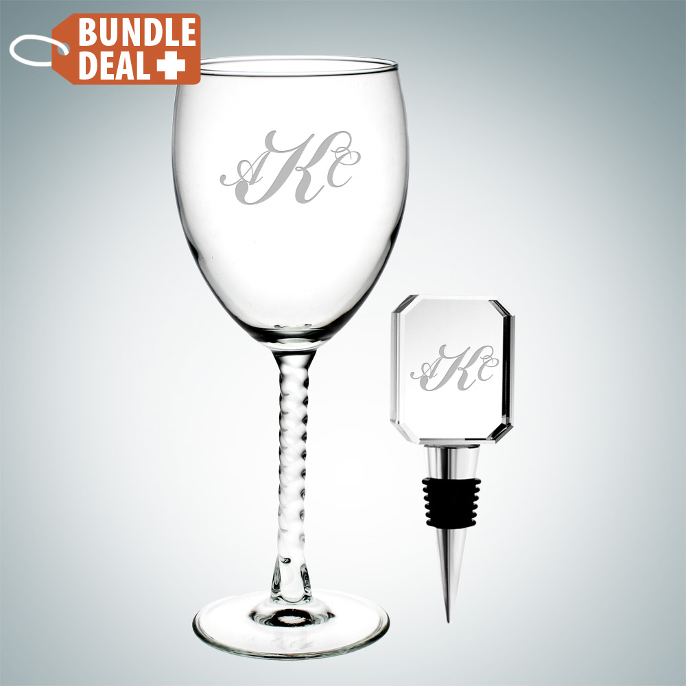 Wine Goblet Glass and Rectangle Wine Stopper Gift Set