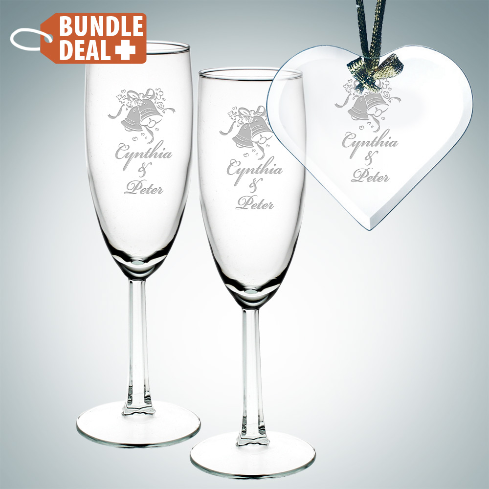 2pc Flute and Heart Ornament Gift Set
