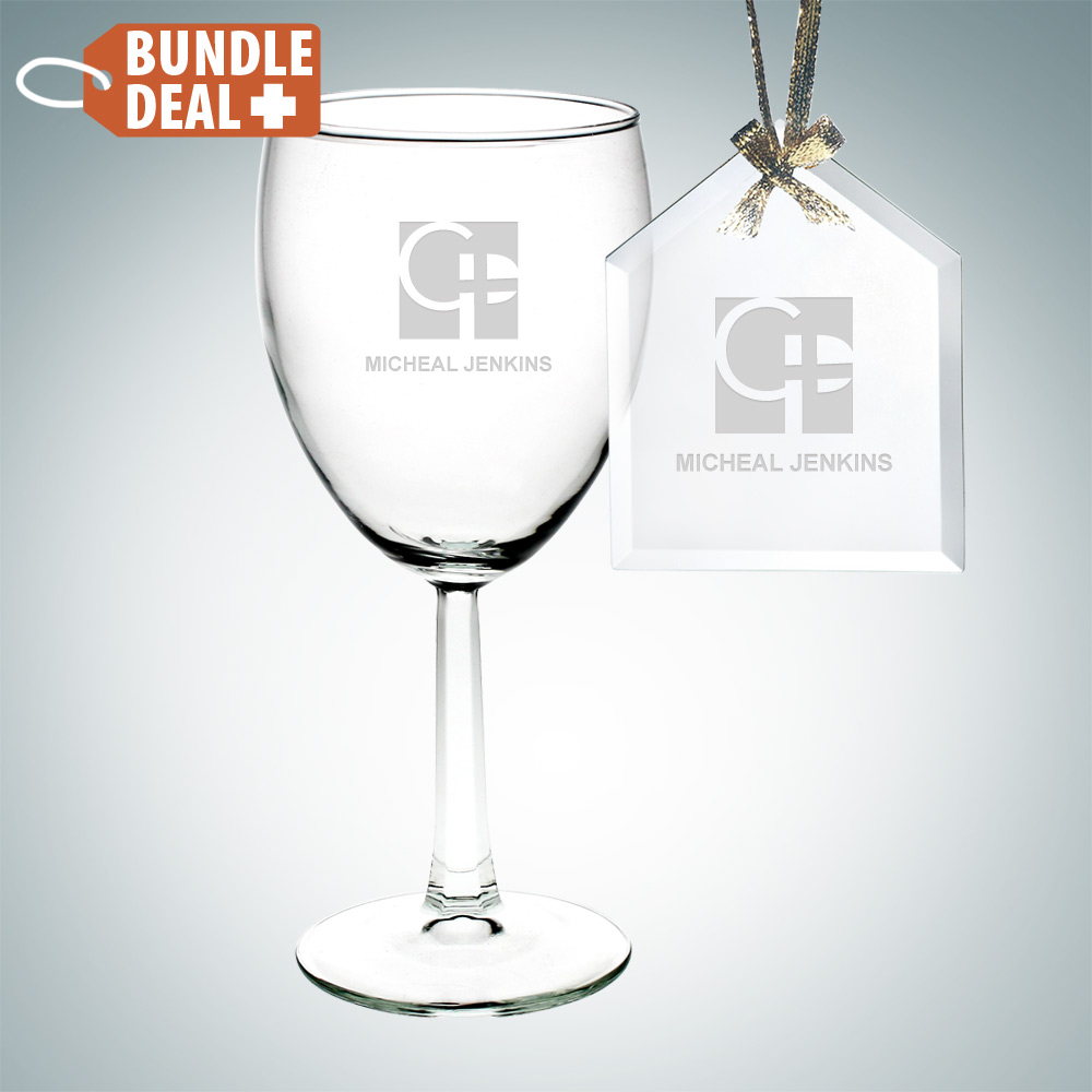 Wine Goblet Glass and House Ornament Gift Set