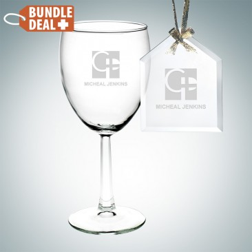 Wine Goblet and House Ornament Gift Set