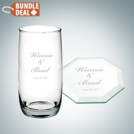 Engraved Cooler Cup and Octagon Coaster Gift Set