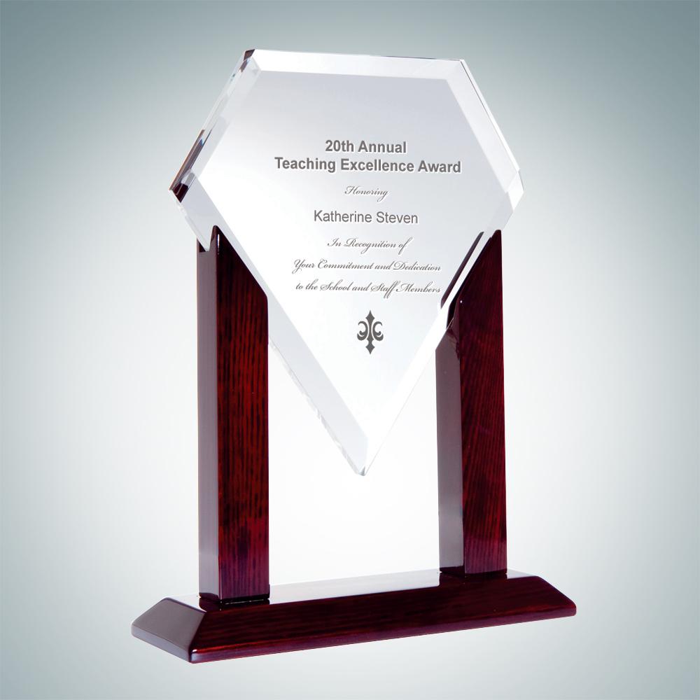 Heroic Crystal Diamond Award with Wood Stand