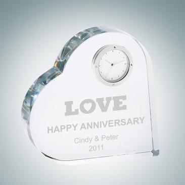 Crystal Heart Keepsake Clock