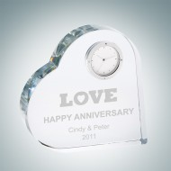 Heart Keepsake Engraved Optical Crystal Clock