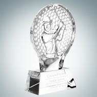 Male Golfer Engraved Optic Crystal Champion Award