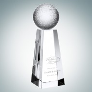 Engraved Optic Crystal Golf Ball with Tall Base